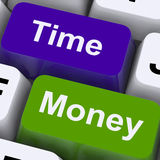 Time Money Keys Show Hours Are More Important Than Wealth. Time Money Keys Showing Hours Are More Important Than Wealth Stock Photos