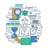 Time is money line flat design banner with a businesswoman. Illustration of vector modern line flat design time is money composition and infographics elements Stock Photo