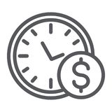 Time is money line icon, hour and finance, clock and dollar sign, vector graphics, a linear pattern on a white. Background, eps 10 royalty free illustration