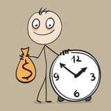 Time is money. Man holding bag of money and hours Stock Image