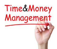 Time and Money Management. Hand writing Time and Money Management with red marker on transparent wipe board royalty free stock photography