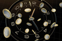 Time and money. The meaning of this picture is time is very precious, is like money, we will cherish Royalty Free Stock Photo