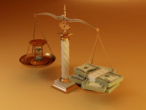 Time is money. Money and hourglass on scale. 3d vector illustration