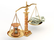 Time is money. Money and hourglass on scale. 3d royalty free illustration