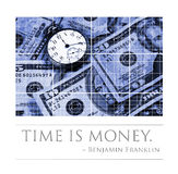 Time is money. An old pocket watch and money in the background.  Concept image of time and money. The quote at bottom by Benjamin Franklin Time is money Royalty Free Stock Photo
