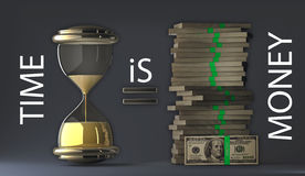 Time is money packs of dollars Royalty Free Stock Photo