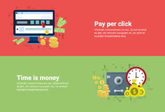 Time Is Money, Pay Per Click Online Payment Web Banner. Flat Vector Illustration Royalty Free Stock Photos