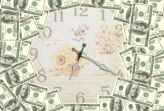 Time is Money. People who make money by the minutes. Time accumulates wealth. A clock surrounded by the US dollar. Time is Money. Money is generated with time stock illustration
