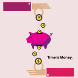 Time is money piggy bank. Flat design Royalty Free Stock Photos