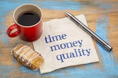Time, money and quality - management concept. Time, money and quality management concept - handwriting on a napkin with a cup of coffee royalty free stock images