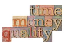 Time, money, quality - management strategy. Time, money, quality management strategy - word abstract in vintage lettterpress wood type royalty free stock images