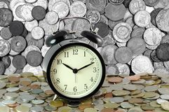 Time is money. Retro clock and coins. Financial background. Economic concept