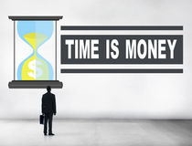 Time Money Sand Glass Businessman Alone Concept Royalty Free Stock Photos