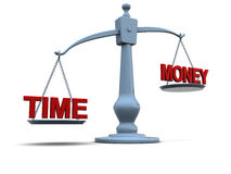 Time and money on scale. 3d illustration of scale and money signs on scale Royalty Free Stock Photo