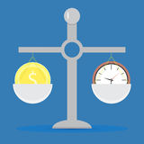 Time and money on scale. Balance clock and finance concept, vector illustration vector illustration
