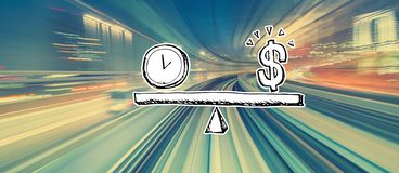 Time and money on the scale with high speed motion blur. Time and money on the scale with abstract high speed technology POV motion blur royalty free illustration