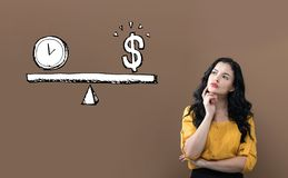Time and money on the scale with young businesswoman. On a brown background vector illustration