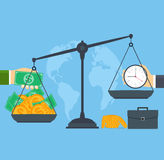 Time and money on scales, concept business people. Stock Photo