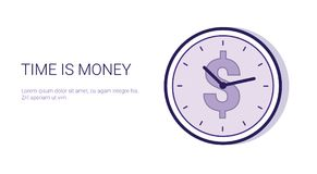 Time Is Money Schedule Business Deadline Concept Web Banner With Copy Space. Vector Illustration Stock Photos