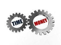 Time is money in silver gearwheels Royalty Free Stock Images