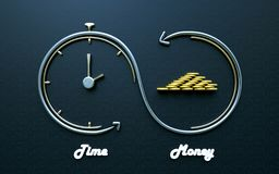 Time is money, Smart Investments. Inifinite cycle concept of smart Investments. Time is money, Money is more time for the future Royalty Free Stock Image