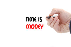 Time is money text concept. Isolated over white background Royalty Free Stock Photos