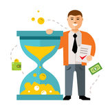 Time is money vector concept. Flat style colorful Cartoon illustration. Royalty Free Stock Photos
