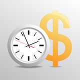 Time is money. Vectorial background with hours and dollar stock illustration