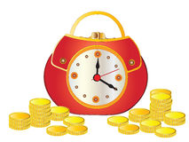 Time is money. Watch as wallet and gold coins. Business concept of time is money Royalty Free Stock Photos