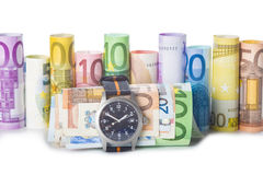Time is money, watch and banknotes Stock Photos