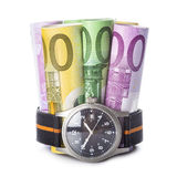 Time is money, watch and banknotes Royalty Free Stock Images