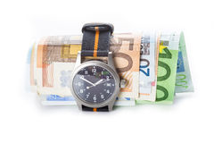 Time is money, watch and banknotes Royalty Free Stock Photography