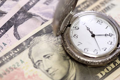 Time is money watch clock on bank Royalty Free Stock Photography