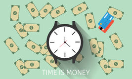 Time is money. With watch, dollar, money, gold, coins, and credit card vector illustration stock illustration