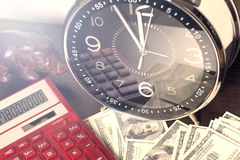 Time is money and wealth. Concept of time and money Royalty Free Stock Photo