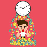 Time is money whit happy businessman Royalty Free Stock Image