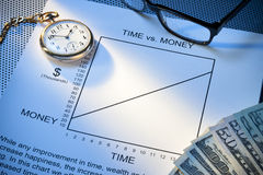 Time Money Work Balance. A conceptual still life that has a graph with time and money Stock Image