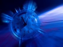 Time in Motion. A zoom blurred alarm clock against a dark, blue backdrop vector illustration