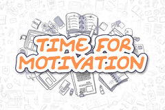 Time For Motivation - Cartoon Orange Word. Business Concept. Royalty Free Stock Images