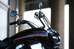 Motorcycle Yamaha XV1700PC Road Star Warrior. Handlebar and gas tank close-up stock images