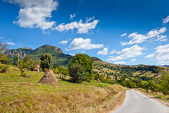 Time in the mountains. The road to the village Babintsi and beautiful scenery of Bulgaria Royalty Free Stock Images