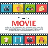 Time for movie copyspace poster. Outdoor or indoor film screening, online video entertainment. Vector flat style cartoon illustration isolated on white Royalty Free Stock Photo