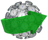 Time Moving Forward Clock Sphere Arrow Pointing Future. Arrow around ball or sphere of clocks to illustrate moving forward in time, increasing or improving Stock Photos