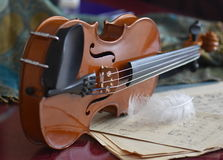 Time for music. Artistic image of violin with notes Royalty Free Stock Photos