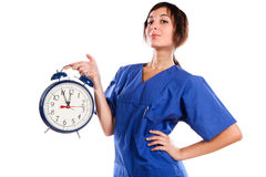 Time In My Hand. Young Beautiful Woman Holding A Big Alarm Clock Stock Images