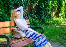 Time for myself. Lady needs relax and vacation. Woman blonde with sunglasses dream about vacation, take break relaxing stock images