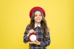 Always on time. It is never too late. Define your own rhythm of life. Happy hours concept. Schedule and timing. Girl. With alarm clock. Set up alarm clock royalty free stock photo