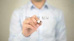 Time For New Content , man writing on transparent screen Royalty Free Stock Photo