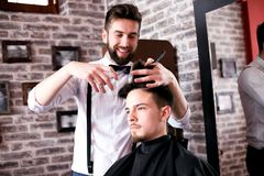 Time for new haircut, must be perfect and attractive. royalty free stock photography