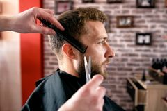 Time for new haircut, must be perfect and attractive. Stock Photography